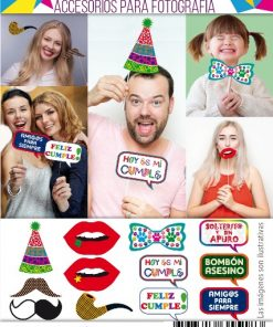 628- Photo booth props x12 - Modelo: Feliz cumple